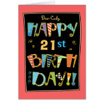 Whimsical Happy 21st Birthday-Funny Card
