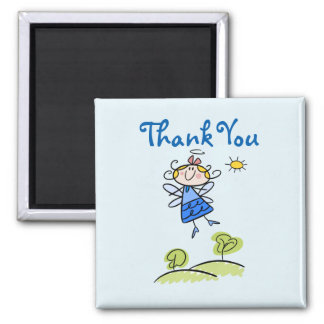 Whimsical Happy Flying Angel Fairy Thank You 2 Inch Square Magnet