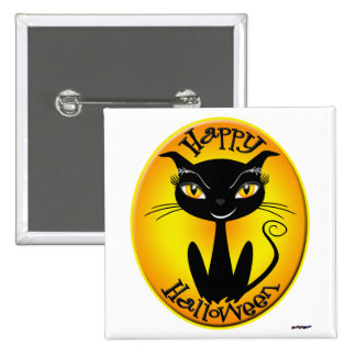 Whimsical Happy Halloween Cat Pinback Buttons