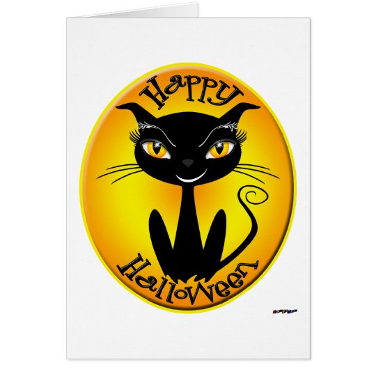 Whimsical Happy Halloween Cat Card