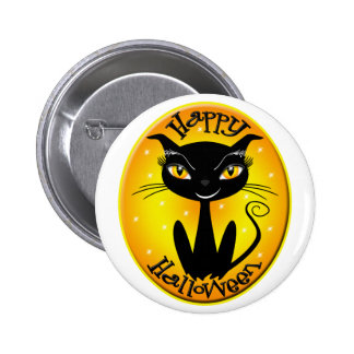 Whimsical Happy Halloween Cat with stars Pinback Button