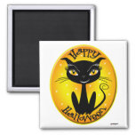 Whimsical Happy Halloween Cat with stars Magnets