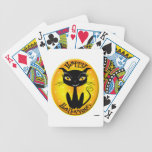 Whimsical Happy Halloween Cat with stars Deck Of Cards