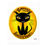 Whimsical Happy Halloween Cat with stars Post Card