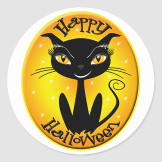 Whimsical Happy Halloween Cat with stars Sticker