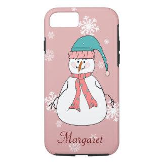 Whimsical Happy Misses Snowman Snow Name Monogram iPhone 7 Case