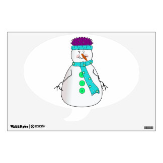 Whimsical Happy Mister Snowman Hat Scarf Buttons Wall Sticker
