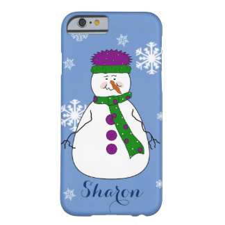 Whimsical Happy Mister Snowman Snow Name Monogram Barely There iPhone 6 Case