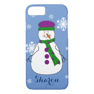 Whimsical Happy Mister Snowman Snow Name Monogram iPhone 7 Case