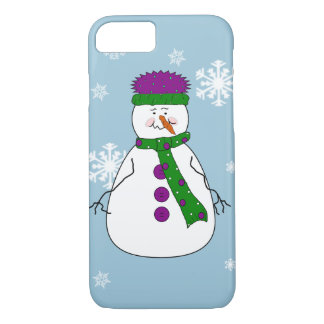Whimsical Happy Mister Snowman Snowflakes Snow Art iPhone 7 Case