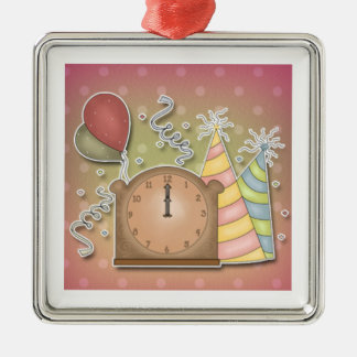 Whimsical Happy New Design Metal Ornament
