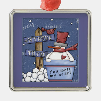 Whimsical happy snowman with snowballs metal ornament