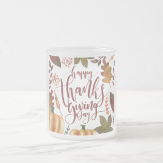 Whimsical Happy Thanksgiving Day | Frosted Mug