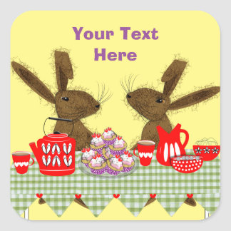 Whimsical Hares Tea Party Square Sticker