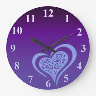 Whimsical Heart Blue Large Wall Clock by Janz