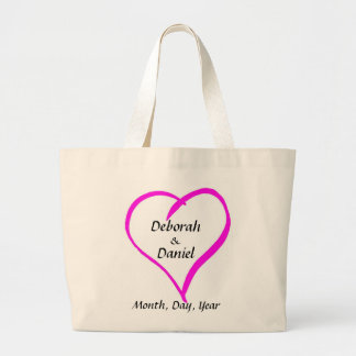 Whimsical Heart Bride and Grooms Names and Date Large Tote Bag