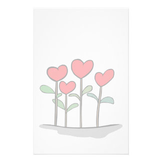 Whimsical Heart Flowers Stationary Stationery