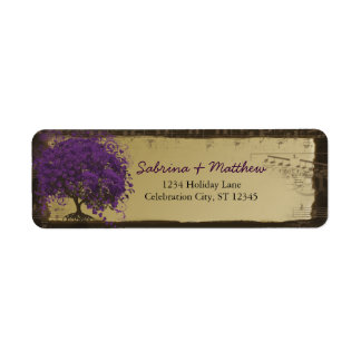 Whimsical Heart Leafed Tree Plum on Gold Label