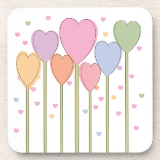 Whimsical Heart Lollipops Beverage Coaster