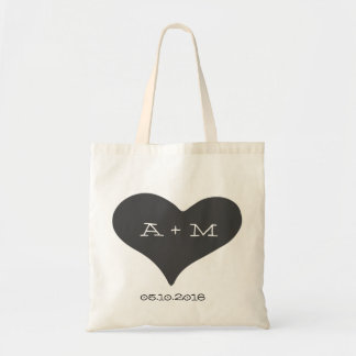 Whimsical Heart Monogram Wedding Tote Budget Tote Bag