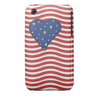 Whimsical Heart Stars and Stripes Patriotic iPhone 3 Case