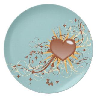 Whimsical Heart Swirls Dinner Plate