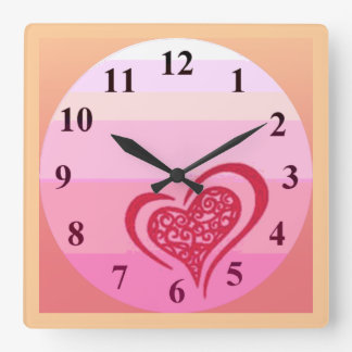 Whimsical Heart Wall Clock Square