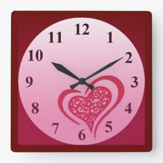 Whimsical Heart Wall Square Clock by Janz