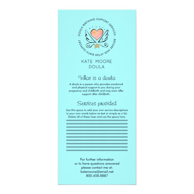 Whimsical Heart & Wings Doula Or Midwife Services Rack Card