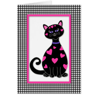 Whimsical Hearts Cat Card