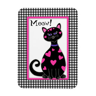 Whimsical Hearts Cat - Meow Rectangular Photo Magnet