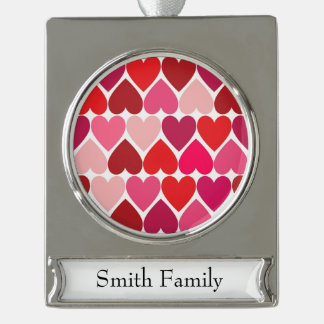 "Whimsical Hearts ""In Love"" Design Silver Plated Banner Ornament"