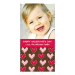 Whimsical Hearts Pink and Brown Valentine's Day Photo Greeting Card
