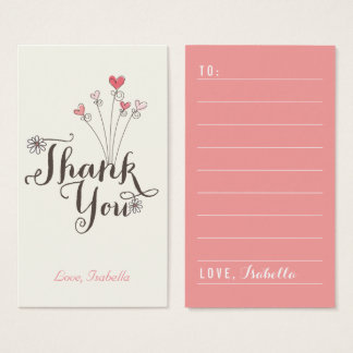 Whimsical Hearts Thank You Script DIY Gift Tag