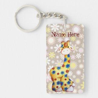 Whimsical Hippie Giraffe Funny Keychain