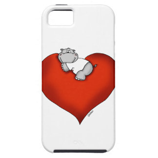 Whimsical Hippo on Heart iPhone 5 Cases