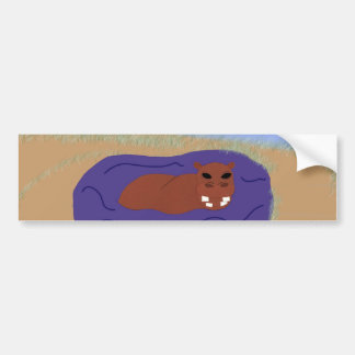 Whimsical Hippopotamus in Pond Car Bumper Sticker