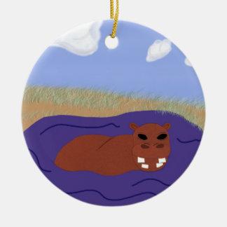Whimsical Hippopotamus in Pond Ceramic Ornament