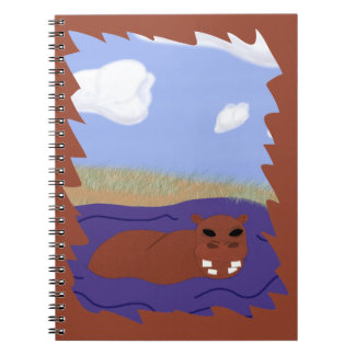 Whimsical Hippopotamus in Pond Spiral Note Book