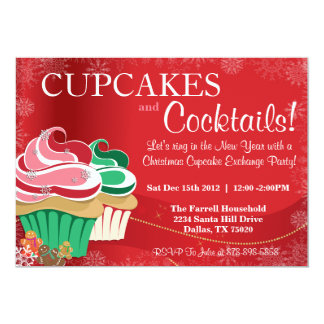 "Whimsical Holiday Christmas Cupcake Exchange Party 5"" X 7"" Invitation Card"