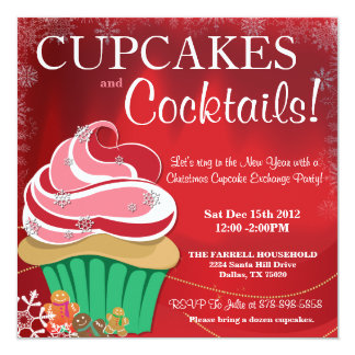 "Whimsical Holiday Christmas Cupcake Exchange Party 5.25"" Square Invitation Card"