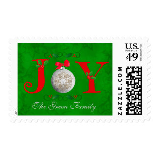 Whimsical Holiday Joy Silver Ornament Green Holly Postage