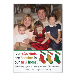 Whimsical Holiday Stocking Photo Card Personalized Invite