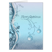 whimsical, christmas, xmas, balls, decor, decoration, swirls, snow, winter, holidays, december, season, Card with custom graphic design
