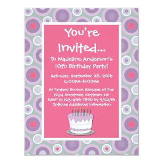 "Whimsical Hoops Birthday Party Invitation 4.25"" X 5.5"" Invitation Card"
