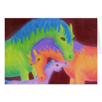 Whimsical Horse Family Greeting Card