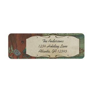 Whimsical Horse Red Flowers Return Address Label label