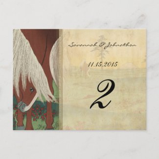 Whimsical Horse Wedding Table Number Cards postcard