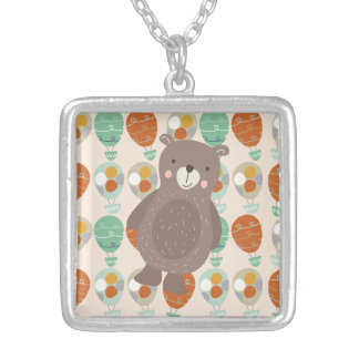 Whimsical Hot Air Balloons Square Pendant Necklace