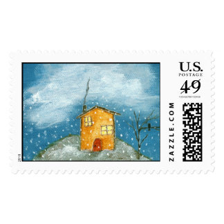 Whimsical House an Tree Primitive Art Stamps Large